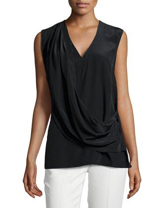 Draped-Front Sleeveless Top, Black