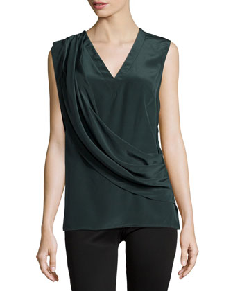 Liam Draped-Front Sleeveless Top, Sycamore