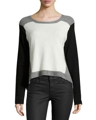 Long-Sleeve Colorblock Cashmere Sweater, Black Multi