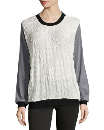 Long-Sleeve Colorblock Sweater, Ivory Multi