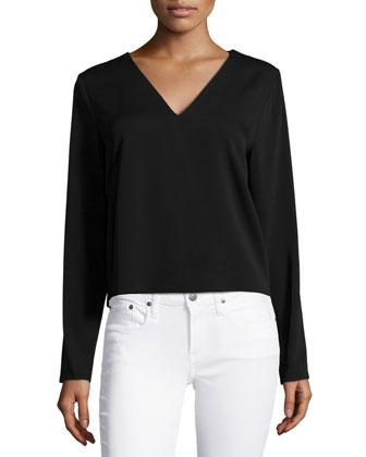 Penelope Long-Sleeve V-Neck Top, Black