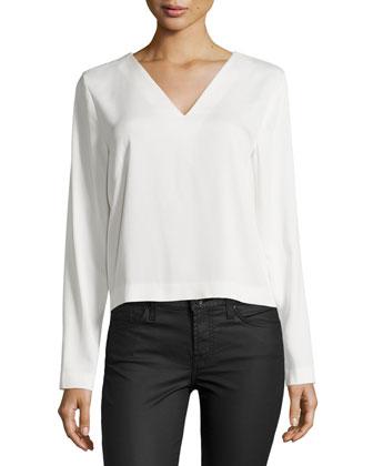 Penelope Long-Sleeve Top, Ivory