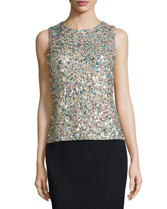 Sleeveless Seashell Sequin Top, Khaki