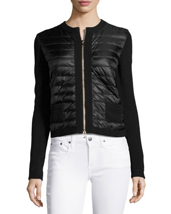 Puffer-Front Knit Jacket, Black