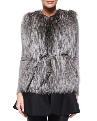Aubenas Fox Fur Vest, Black