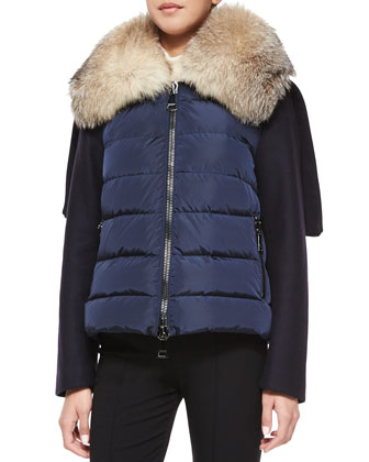 Sedan Fur-Collar Combo Coat, Navy