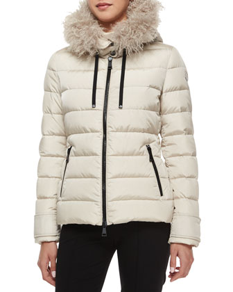 Cintrat Fur-Trim Hooded Puffer Coat, Champagne