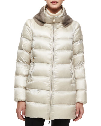 Argy Fur-Trim Puffer Coat
