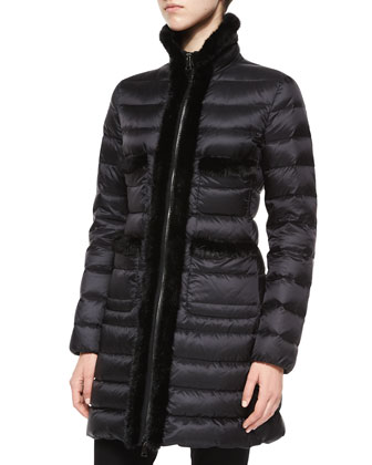 Lacainiz Mink Fur-Trim Coat, Black