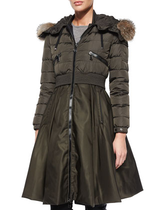 Sully Full-Skirted Fur-Trim Puffer Coat, Olive