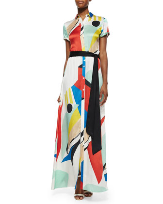 Arlen Graphic-Print Maxi Shirtdress, Multicolor