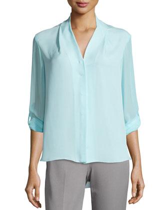 Ginny Tab-Sleeve Silk Blouse