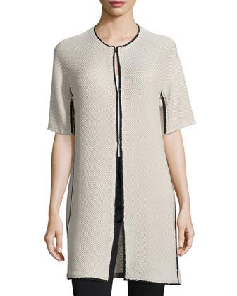 Bea Short-Sleeve Colorblock Coat & Ann Sleeveless Pleated-Back Blouse