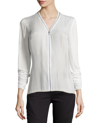 Ann Silk Zip-Front Blouse