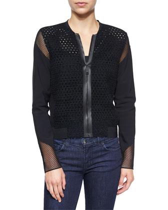Sandie Mesh-Inset Jacket, Black