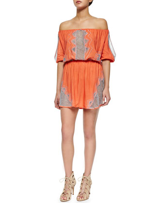 Off-the-Shoulder Temple Mini Dress, Papaya/Silver