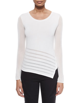Leia Long-Sleeve Asymmetric Sweater W/ Sheer Detail