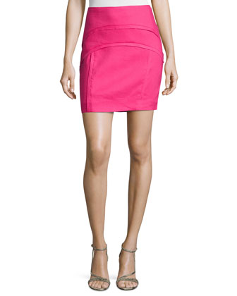 Arched-Seams Mini Pencil Skirt, Berry