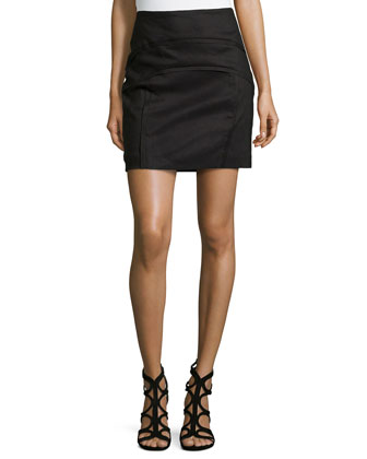 Arched Front-Seams Skirt, Black