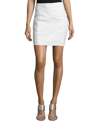 Arched Front-Seams Skirt, White