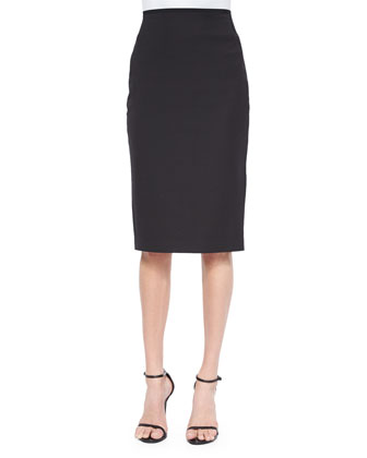 Layne Tabbed-Sleeve Colorblock Blouse & Cammie Cotton-Blend Pencil Skirt