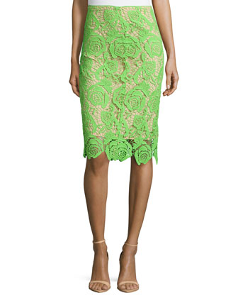 Neon Venice Lace Skirt, Neon Green