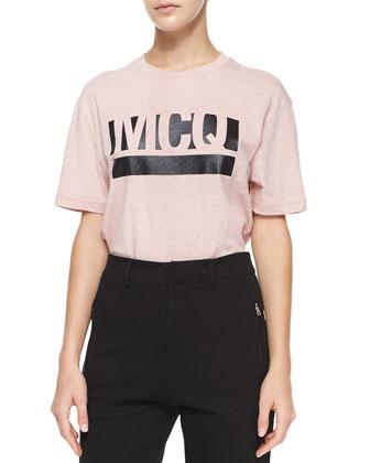 Long Snap-Front Blazer, Short-Sleeve Logo Tee & High-Waist Tailored Sweatpants