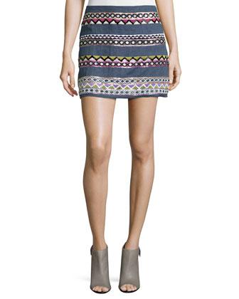 Geometric Jewels Mini Skirt, Indigo