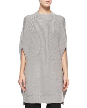Crewneck Multi-Gauge Wool Cape