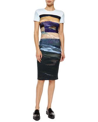 Short-Sleeve Landscape-Print Body-Conscious Dress