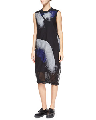 Sleeveless Ostrich Feather Mesh Dress