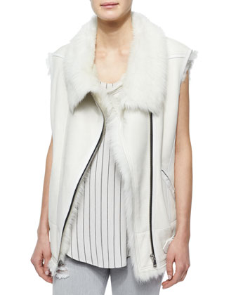 Courtney Fur-Trim Leather Moto Vest, Coleen Sleeveless Striped Racerback ...