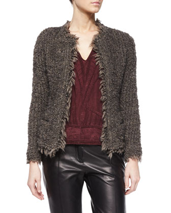 Coffey Fringe-Trim Shaggy Jacket, Brynn Embroidered Half-Sleeve Top & Great ...