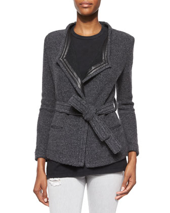 Cooley Tweed Belted Jacket, Leila Sleeveless Slash-Back Top & Jarod Ripped ...