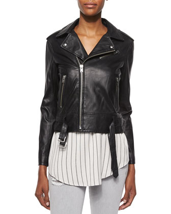Galaxy Lambskin Leather Jacket, Coleen Sleeveless Striped Racerback Top & ...