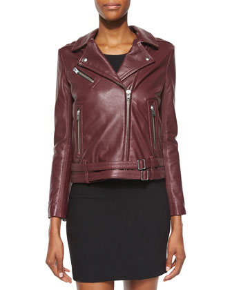 Jone Lambskin Leather Jacket, Burgundy