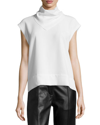 Astrid Stand-Collar Belted Top