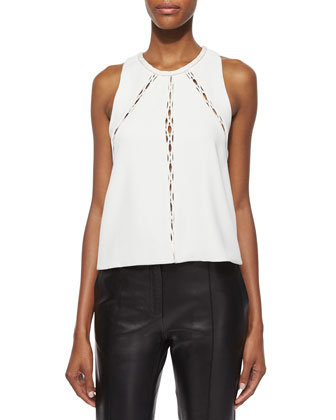 Buddy Sleeveless Cutout-Panel Top & Great Lambskin Leather Ankle Pants