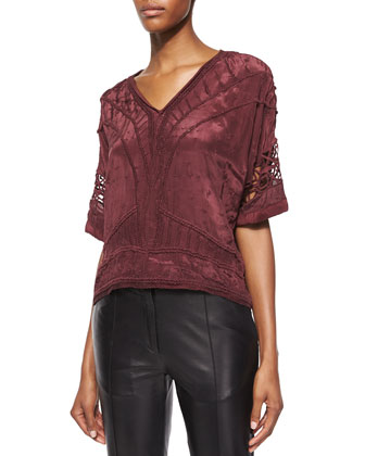 Brynn Embroidered Half-Sleeve Top