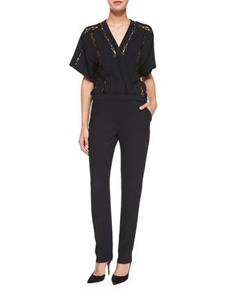 Barrett Long-Sleeve Fur-Trim Leather Jacket & Boyles Short-Sleeve Jumpsuit