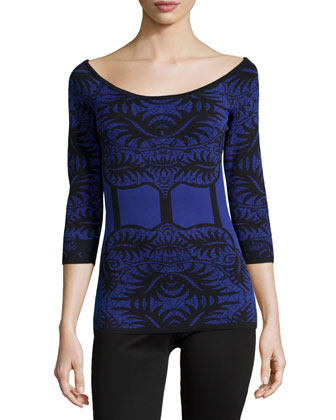 Faux-Corset Knit Top, Black/Blue