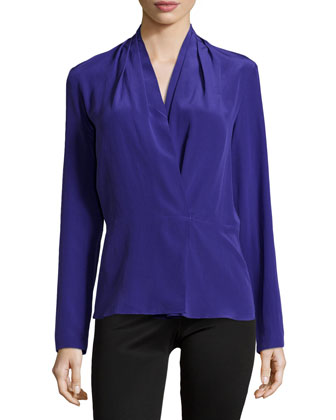 Pleated-Shoulder Long-Sleeve Blouse, Ultra Blue
