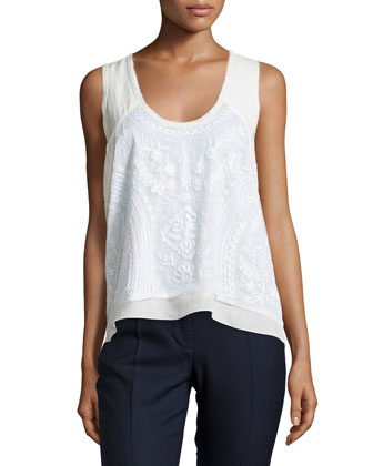 Floral-Lace Scoop-Neck Tank, Ivory
