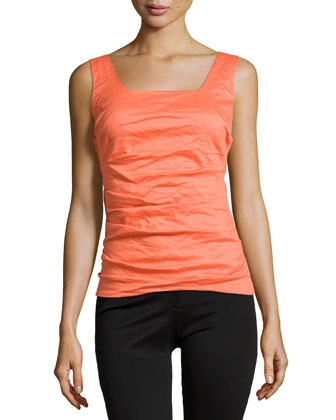 Stacey Crinkle Tank Top, Clementine
