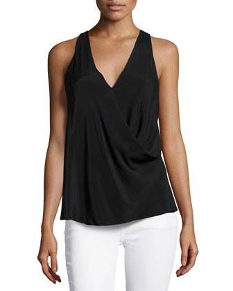 Kodia Draped-Front Blouse, Black