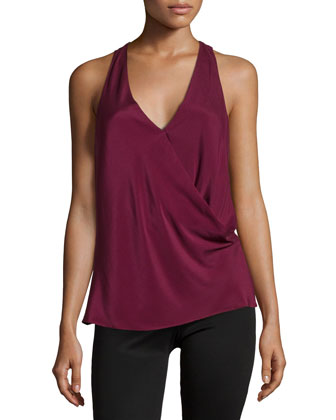 Kodia Draped-Front Blouse, Burgundy