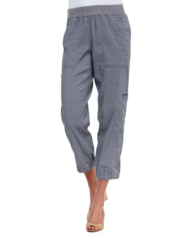 Cargo Linen-Blend Ankle Pants, Pewter (Silver), Women's, Size: 2X (18/20W) - Eileen Fisher