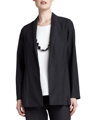 Long Washable Crepe Shawl-Collar Jacket, Women's
