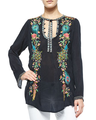 Long-Sleeve Peacock Embroidered Tunic, Petite