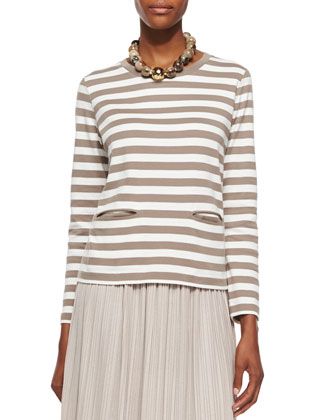 Long-Sleeve Striped Top & Long Pleated Skirt